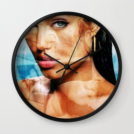 faces of Angelina Jolie2 Wall Clock