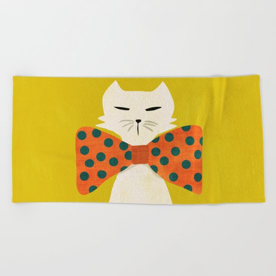 Cat with incredebly oversized humongous bowtie Beach Towel