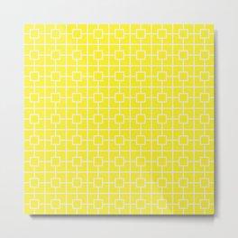 Lemon Yellow Square Chain Pattern Metal Print