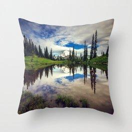 Mountain Reflections Mt Rainier Washington Throw Pillow