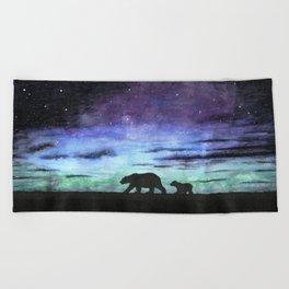 Aurora borealis and polar bears (black version) Beach Towel