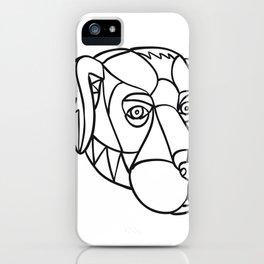 Black Labrador Dog Head Mosaic Black and White iPhone Case