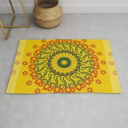 Mandala 09 - Yellow with Extended Edge Rug
