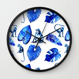 Bright Blue Monkey and Jungle Leaf Pattern Wall Clock