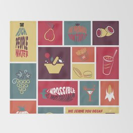 Vintage Food Collage Old Style Throw Blanket