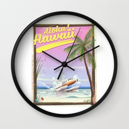 Aloha! Hawaii vintage travel poster. Wall Clock