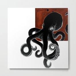 Inktober Octopus Black Metal Print