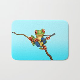 Tree Frog Playing Acoustic Guitar with Flag of Barbados Bath Mat