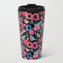Mod floral bright & butterflies & birds Travel Mug