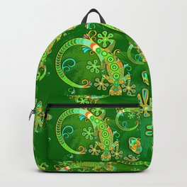 Gecko Lizard Colorful Tattoo Style Backpack