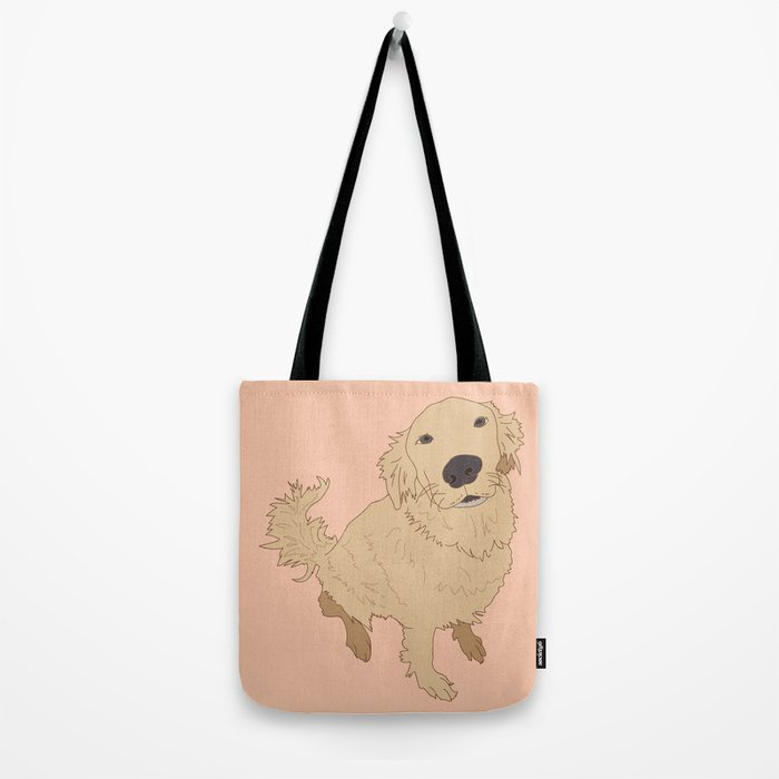Golden Retriever Love Dog Illustrated Print Tote Bag