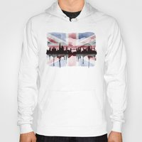 british flag Hoodies featuring Great British Flag London Skyline 2 by Paint the Moment
