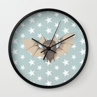 bat Wall Clocks featuring Bat by Mr and Mrs Quirynen