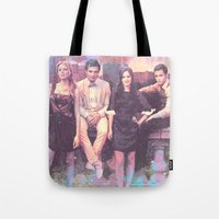 gossip girl Tote Bags featuring Gossip Girl American TV series by Nechifor Ionut