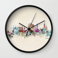 scotland Wall Clocks featuring edinburgh scotland by bri.buckley