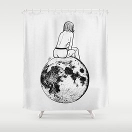 On the moon. Shower Curtain