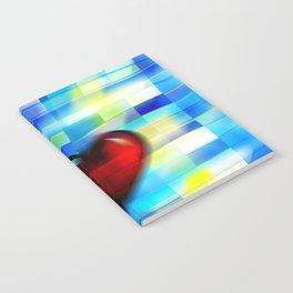 Heart on Bluish Tile Pattern Notebook