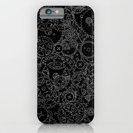 Clockwork B&W inverted / Cogs and clockwork parts lineart pattern iPhone Case