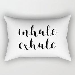 Inhale Exhale, Inspirational Quote, Motivational Quote, Art, Wall Art Rectangular Pillow