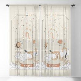Scorpio Zodiac Theme Sheer Curtain
