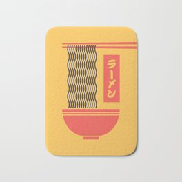 Ramen Japanese Food Noodle Bowl Chopsticks - Yellow Bath Mat
