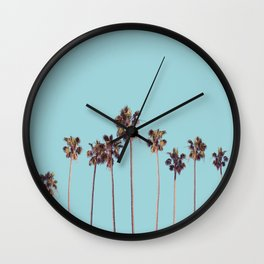 palm trees turquoise Wall Clock