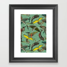 whales and waves jade Framed Art Print