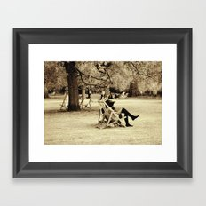 the lady in the park Framed Art Print