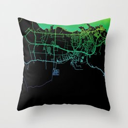 Malabo, Equatorial Guinea, City, Map, Rainbow, Map, Art, Print Throw Pillow
