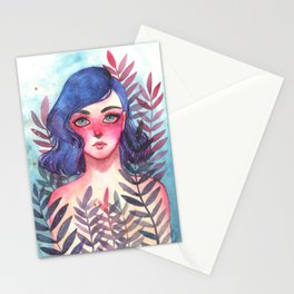 Watercolor illustration of a fairy in the woods. Stationery Cards
