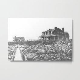 1895 Windswept Black Point Mansion, Scarborough Beach, Narragansett, Rhode Island Then & Now Metal Print