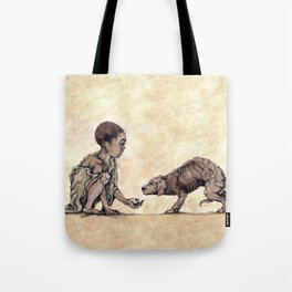 Boy and Puppy Tote Bag