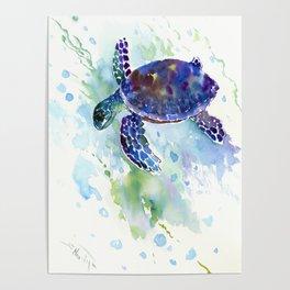 Happy Sea Turtle, aquatic marine blue purple turtle illustration Poster
