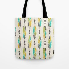 Painted Feathers in a Row-Cream Tote Bag
