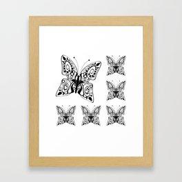 Butterfly black fishnet on a white background Framed Art Print