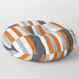 Orange, Navy Blue, Gray / Grey Stripes, Abstract Nautical Maritime Design by Floor Pillow