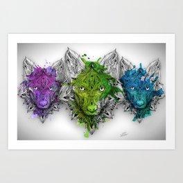 Ornament Wolf Trio - All Colours Art Print