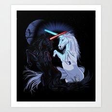 Starwars with unicorns (black) Art Print