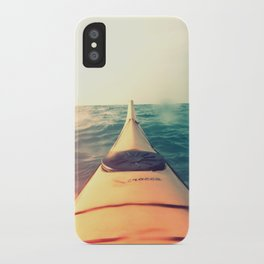Yellow Kayak in Water Color Nature Photography iPhone Case