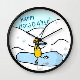 Happy Holidays Skater | Veronica Nagorny  Wall Clock