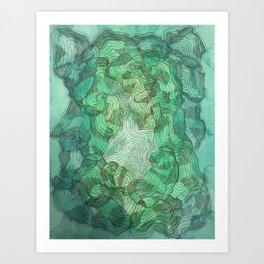Green Blobs Art Print