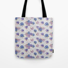 Hydrangeas and French Script with birds on gray background Tote Bag