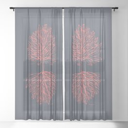 Tree Art. Hands Giving, Hands Receiving 111-24CW4 Sheer Curtain