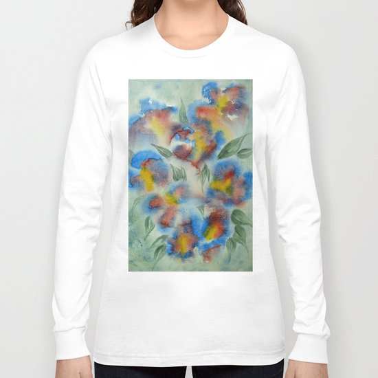 Abstract Flowers Blue Watercolor Long Sleeve T-shirt