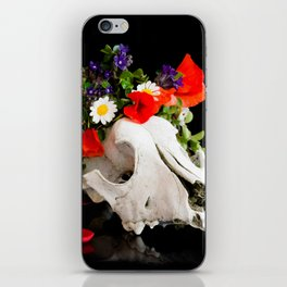 Animal skull with a wreath of wild flower iPhone Skin