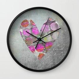 Passion Grey Mixed Media Heart Art Wall Clock