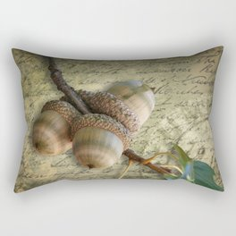Autumn Acorns On Vintage Postcard Rectangular Pillow