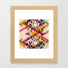 Snake skin texture. black magenta orange pink purple print Framed Art Print