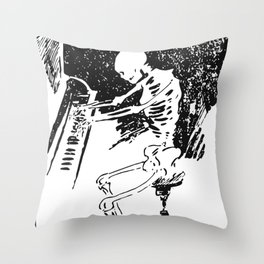 Skeleton plays piano Throw Pillow