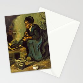 Van Gogh, Peasant Woman Cooking by a Fireplace Stationery Cards